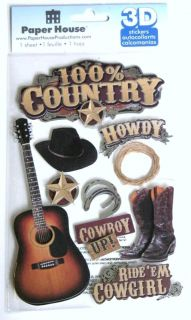 Paper House Music 100 Country Scrapbook 3D Stickers Foil