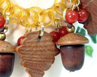 Wood Acorn Bakelite Berry Charm Bracelet Celluloid Chain Carved Leaves