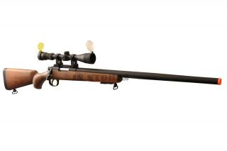 450FPS Bolt Action Airsoft Sniper Rifle w Scope 700 Wood