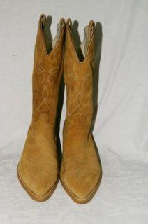 Acme Beige Tan Suede Cowboy Western Boots Mens 10 EW