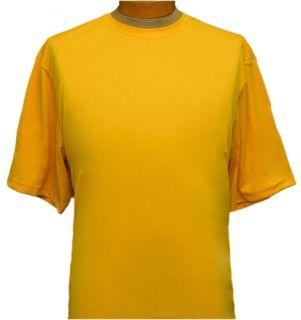 Fit Moisture Wicking Mens Crew Neck Active Wear Shirt Yellow