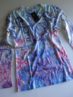 Laura Ashley Active New Blue White Pink Print Shirt Top Blouse Womens