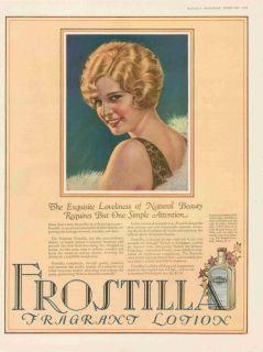 1927 Frostilla Fragrance Lotion Pretty Woman Print Ad
