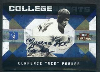 2009 Panini Threads Ace Parker College Greats Auto 75