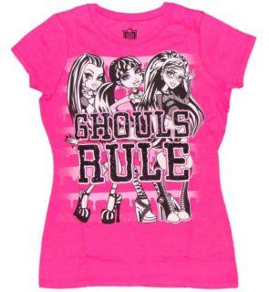 Monster High GHOULS RULE Girls Pink T Shirt Top Medium 7 8 NWT