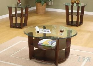 Adelanto 3pc Cappuccino Glass Wood Coffee End Table Set