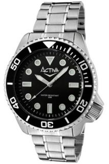 Activa by Invicta SF278 Swiss Black Dial Stainless Steel Mens Bracelet