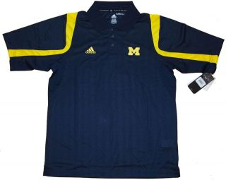 University of Michigan Wolverines Adidas Clmiacool Polo Shirt Navy Men