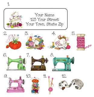 Personalized Vintage Sewing Machine Cats Address Labels