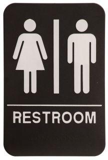 ADA Unisex Restroom Signs Braille Text Black Plastic Meets ADA