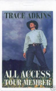 Trace Adkins All Access Laminated Backstage Pass
