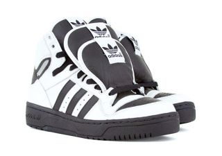 Auth Adidas Originals x Jeremy Scott 3 Tongue Sneakers Blk White Very