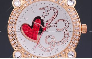 Brits Crystal Red Heart Leather Lady Quartz Watch Gift