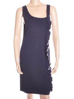 Adrienne Vittadini Sleeveless Knit Navy Blue Dress Sz S