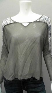 Addison V Neck Ladies Womens XS Shirt Top Gray Solid Long Sleeve