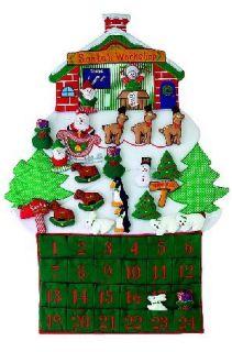 24 Large Santas Workshop Fabric Christmas Advent Calendar