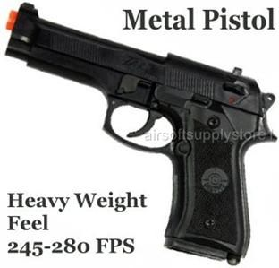 Brand New Large Metal Plastic 280 FPS Airsoft Pistol Beretta Gun