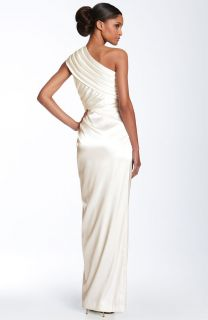 Adrianna Papell White One Shoulder Twist Charmeuse Gown Wedding Dress