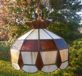 Vintage Tiffany Slag Stained Glass Light Hanging Lamp