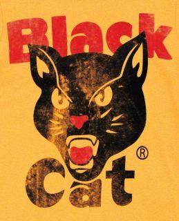 Black Cat Fireworks Logo Vintage Style Adult T Shirt Tee