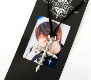Gackt Collana J Pop J Rock Gothic Punk Necklace Silver Cross Cosplay