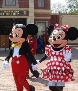 Mickey and Minnie Mouse 2 Mascot Costume Adult Size Cartoon