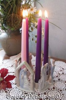 Pastel Porcelain Nativity Advent Wreath or Christmas Candle Holder New