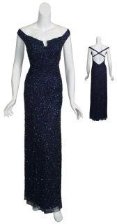 Aidan Mattox Fully Beaded Navy Evening Gown Dress 6 New