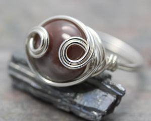 Agate Loop Sterling Silver Wire Wrapped Handcrafted Gemstone Ring