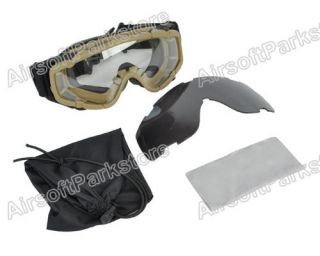 Airsoft Tactical Goggle Glasses w 2pcs of Lens for Helmet with Side