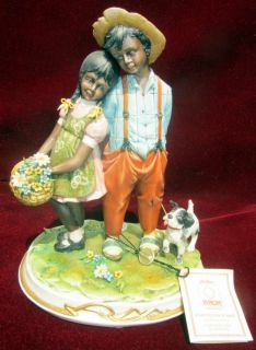 Capodimonte African American Figurine Boy Girl with Dog Sign Cazzola