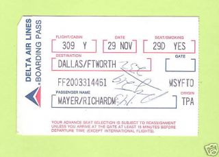 DELTA Air Lines Airlines Boarding Pass Smoking Section Collectible