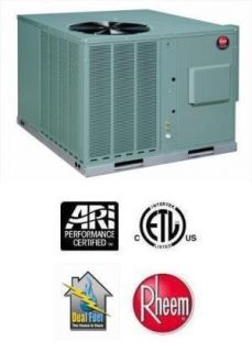 Ton 13 SEER Rheem 100 000 BTU 80 Gas Package Air Conditioner