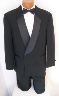 Mens After Six Black Double Breasted Shawl Tuxedo Jacket Black Tie