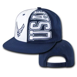 USAF Air Force Wings Flat Bill Snap Back Deluxe Blue Baseball Cap Hat