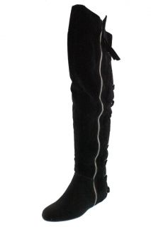 Baby Phat New Aida Black Textured Back Lace Flats Over The Knee Boots