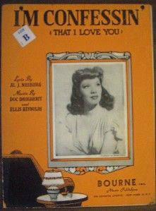 1930 Vintage Sheet Music IM Confessin That I Love You Dinah Shore on