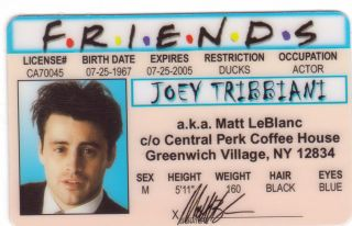 Pick A Joey Tribianni Chandler Bing or Ross Geller Collectors Item The
