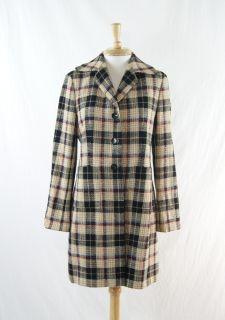 AK Anne Klein Multi Color Wool Plaid Pattern Tweed Long Coat Size M