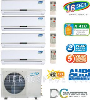 Quad Zone Mini Split, 36000 BTU AC Air Conditioner w/ Heat Pump