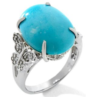 Heritage Gems White Cloud Turquoise Diamond Sterling Silver Butterfly