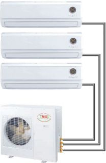 Tri Zone Ductless Mini Split Air Conditioner Heat Pump 9000 + 12000