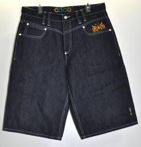 Coogi Mens Dark Blue Jean Shorts Face Design Sz 36X16.5