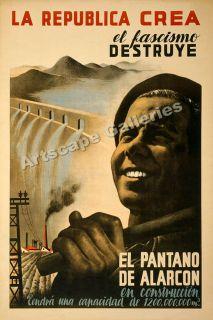 Fascismo Destruye 1930s Spanish Civil War Poster 16x24