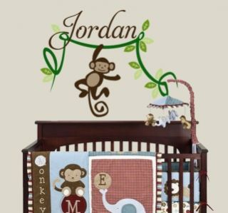 Name Decal with Monkey on Vine for Nursery Removable Vinyl Wall Decal