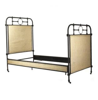 Alaric Burlap Antique Iron Industrial Rustic Twin Bed Frame