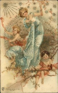Beautiful Art Nouveau Woman Children on Tree Branch IntL Art Pub Co 1
