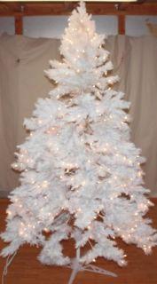 New Christmas Tree 6 5 White Alaskan Spruce Pre Lit Clear Lights Snow