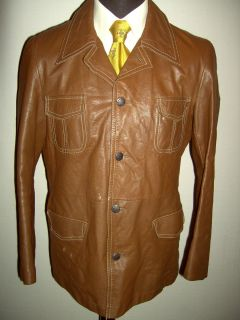 Vintage 70s Aleksander Western Leather Jacket Blazer 42
