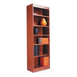 Alera Wood Veneer 6 Shelf Narrow Profile Bookcase Finished Back 24 x